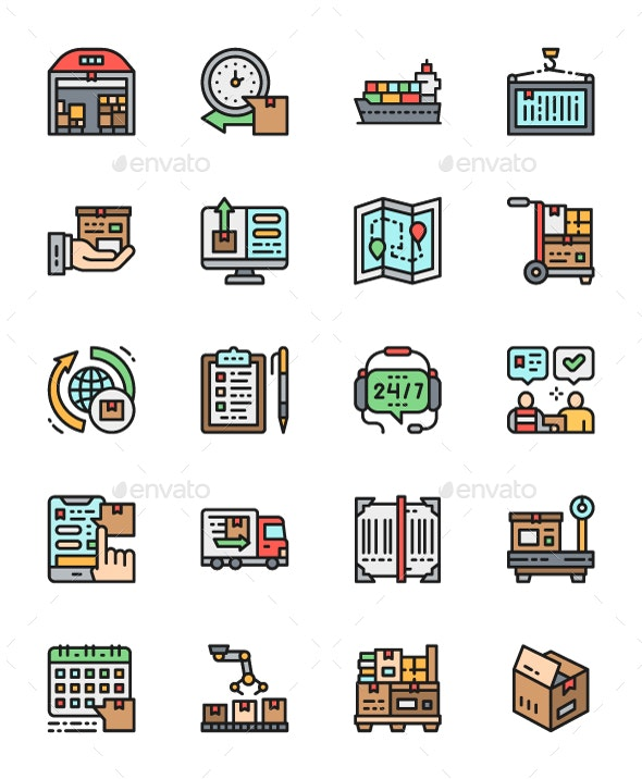 Set Of Logistics And Delivery Color Icons. Pack Of 64x64 Pixel Icons - Technology Icons