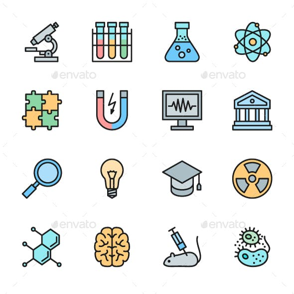 Set Of Science Color Icons. Pack Of 64x64 Pixel Icons