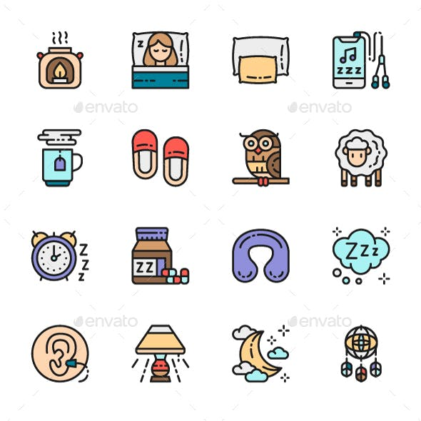 Set Of Sleep Color Icons. Pack Of 64x64 Pixel Icons