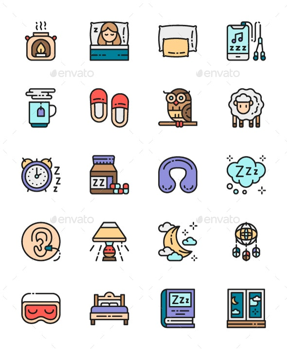 Set Of Sleep Color Icons. Pack Of 64x64 Pixel Icons - Objects Icons