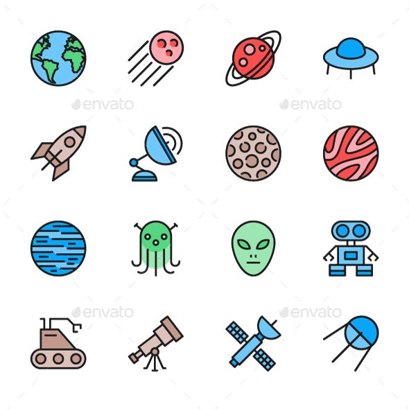 Set Of Astronomy And Space Color Icons. Pack Of 64x64 Pixel Icons
