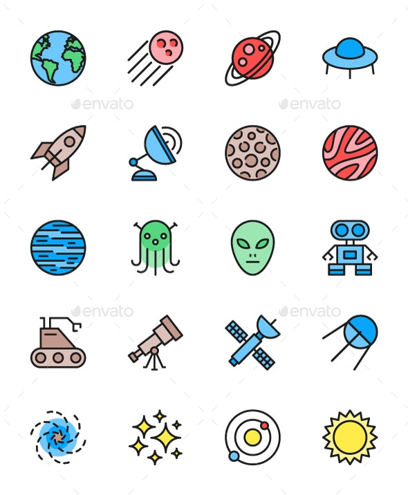 Set Of Astronomy And Space Color Icons. Pack Of 64x64 Pixel Icons - Objects Icons