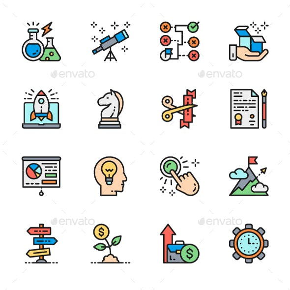 Set Of Startup And New Business Color Icons. Pack Of 64x64 Pixel Icons