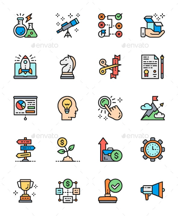 Set Of Startup And New Business Color Icons. Pack Of 64x64 Pixel Icons - Business Icons