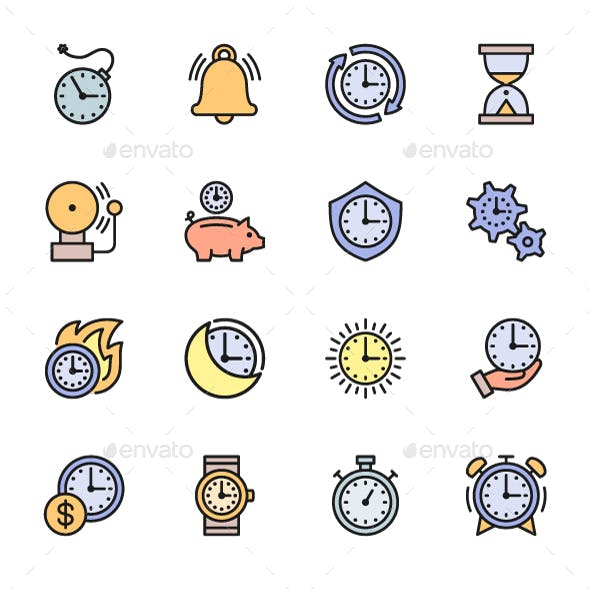 Set Of Time Management Color Icons. Pack Of 64x64 Pixel Icons