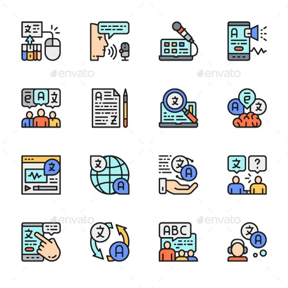 Set Of Language Translation Color Icons. Pack Of 64x64 Pixel Icons