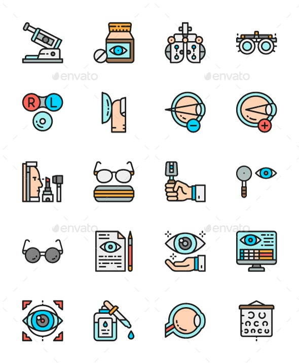 Set Of Ophthalmology Color Icons. Pack Of 64x64 Pixel Icons - Objects Icons