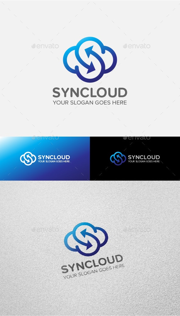 Synchronize Cloud Logo - Objects Logo Templates