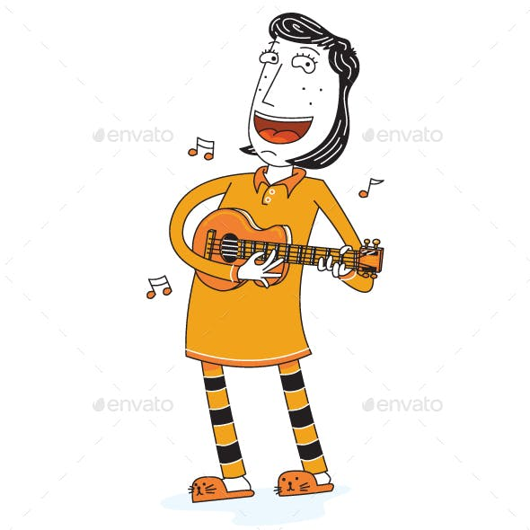 Happy Girl Singing with Guitar