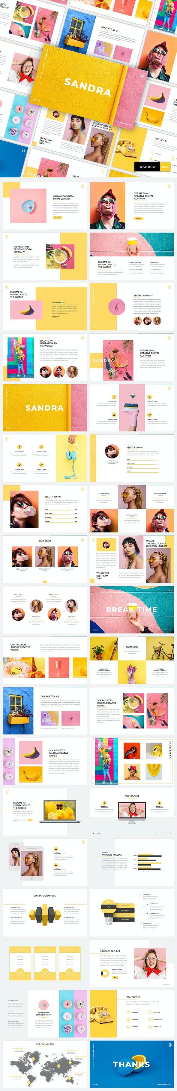 Sandra - Creative & Business GoogleSlide Template - Google Slides Presentation Templates