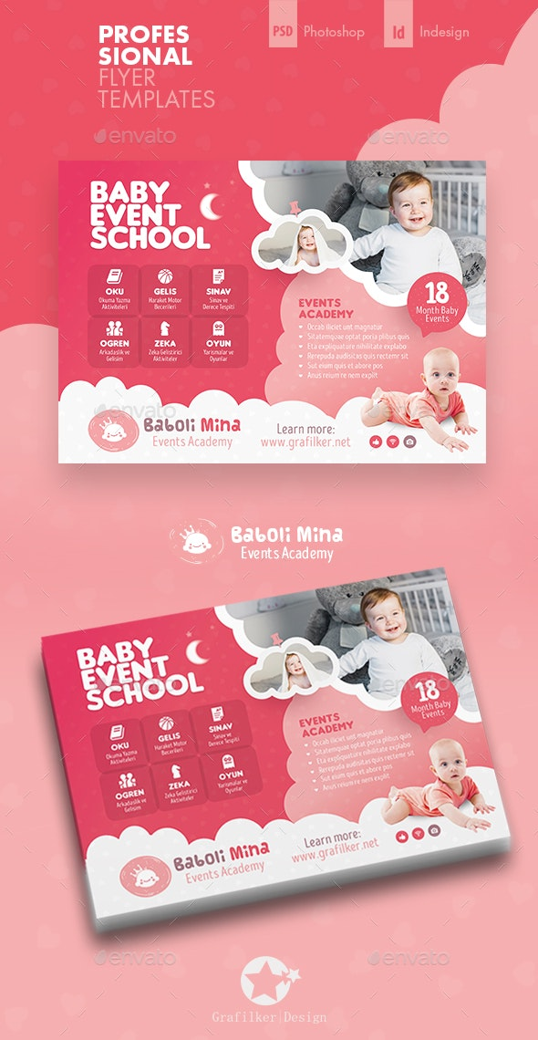 Baby Event Flyer Templates By Grafilker Graphicriver