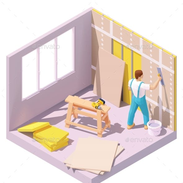 Vector Isometric Worker Plastering Wall