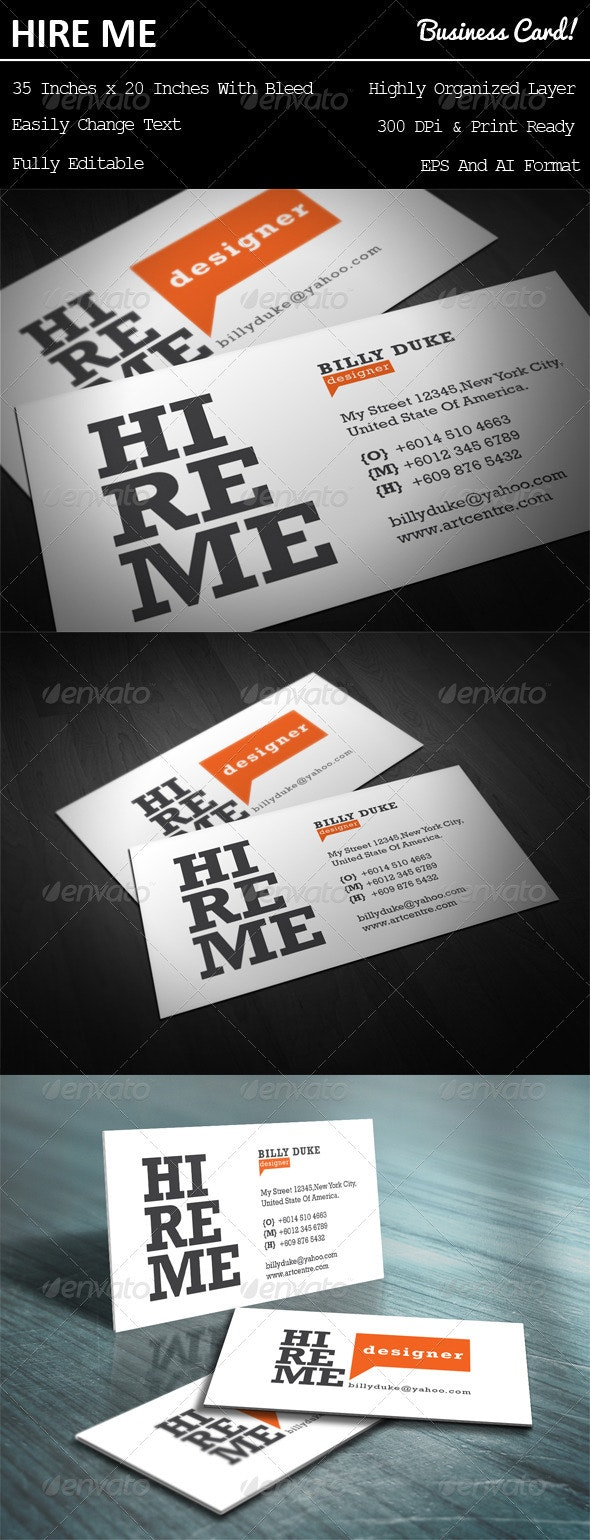 Hire Me Business Card - Business Cards Print Templates