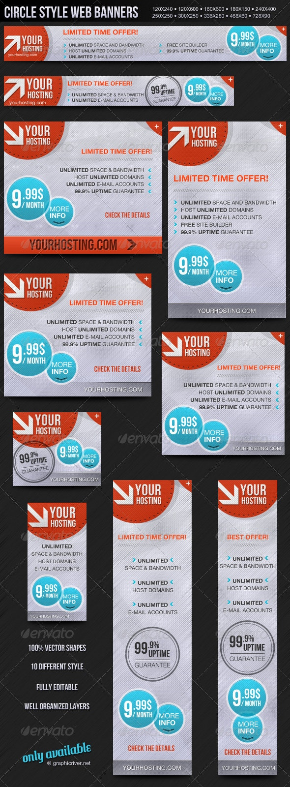Circle Style Web Banners - Banners & Ads Web Elements