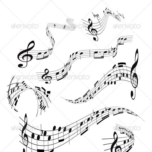 Set of musical notes staff