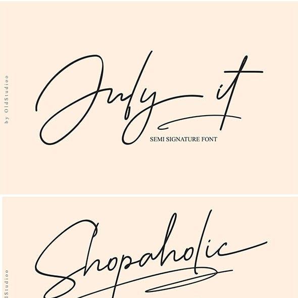 July it // Semi Signature Font