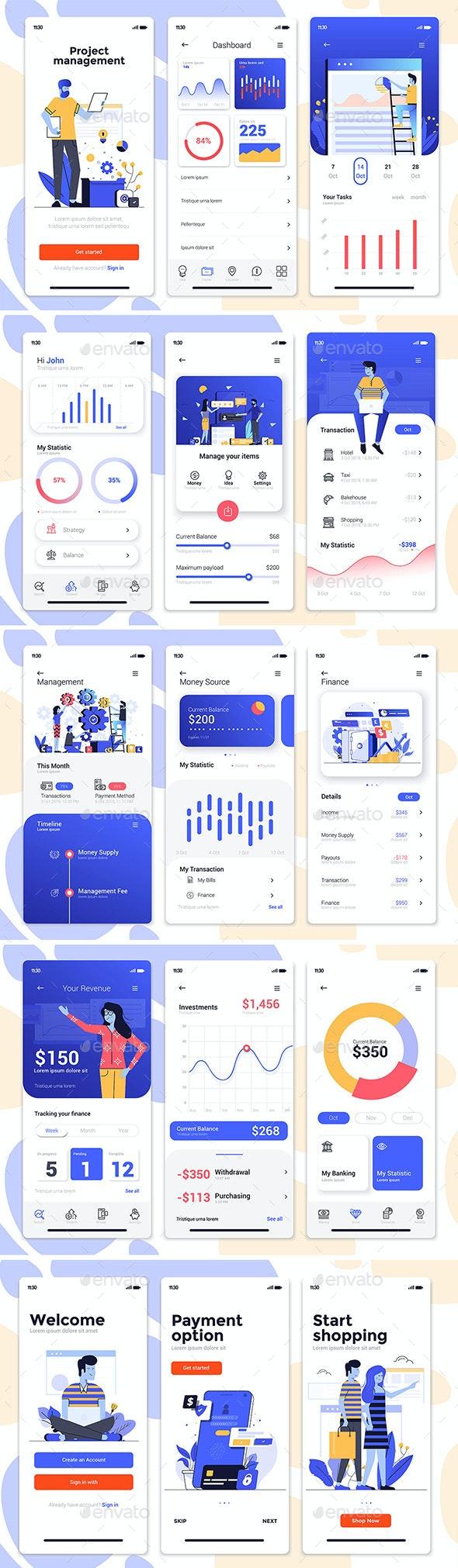 15 Finance App Screens for App on Various Topics - Web Elements Vectors