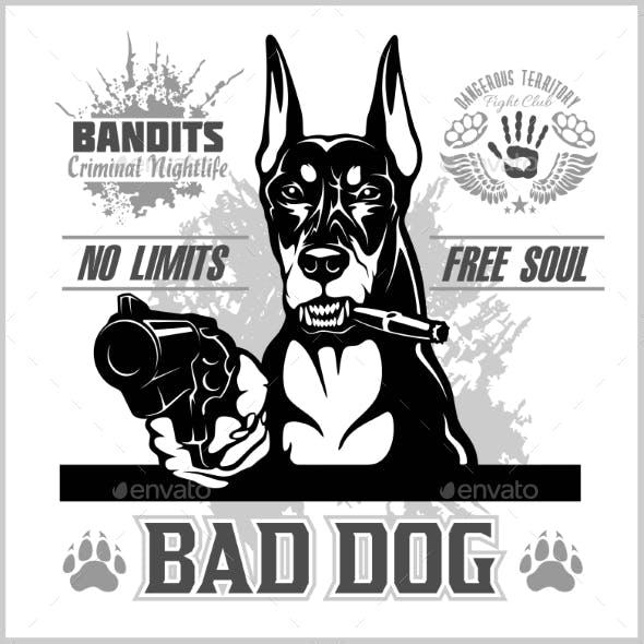 Bad Dog Doberman Aiming with Guns