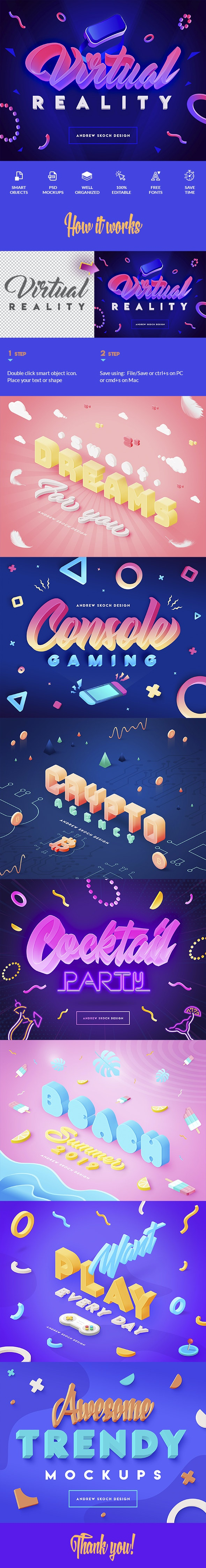 Vibrant 3D Text Effects - Text Effects Actions