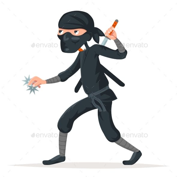 Japan Secret Ninja Assassin Japanese Sword Cartoon