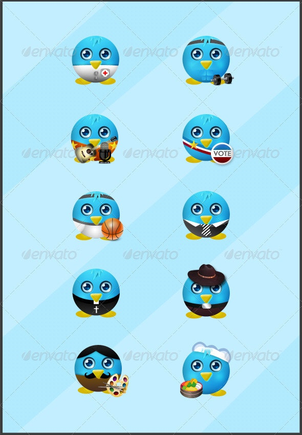 10 Cute Twitter Icons Pack - Web Icons