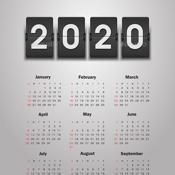 Calendar 2020 year. Week starts from Sunday