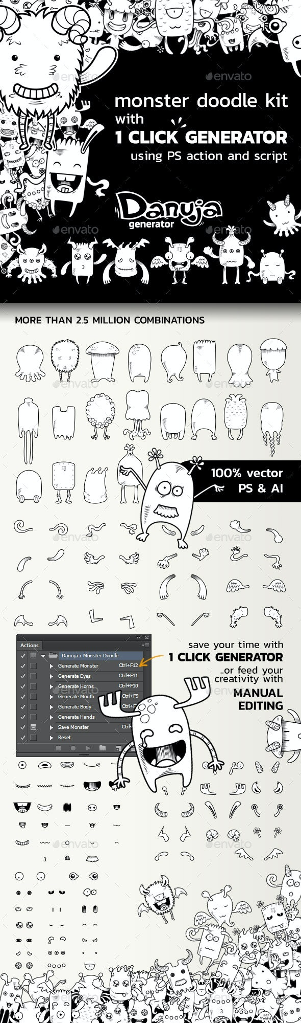 Monster Doodle Creation Kit with 1 Click Generator - Monsters Characters