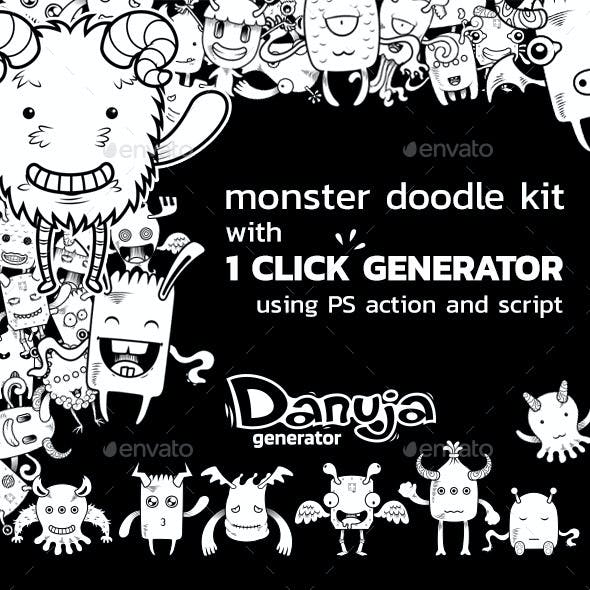 Monster Doodle Creation Kit with 1 Click Generator
