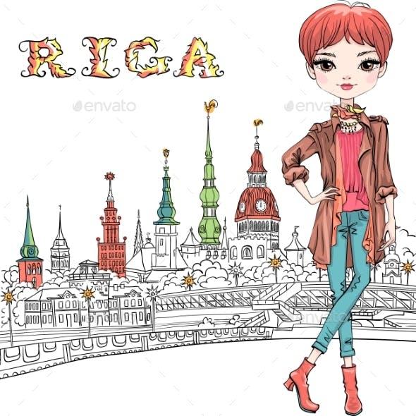 Redhead Girl in Riga, Latvia