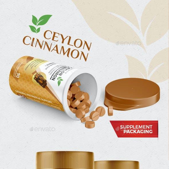 Ceylon Cinnamon Supplement Packaging Label