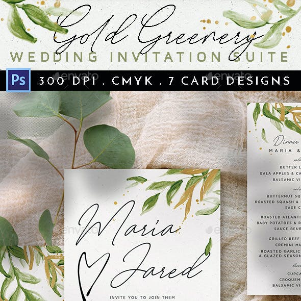 Gold Greenery Wedding Invitation Suite
