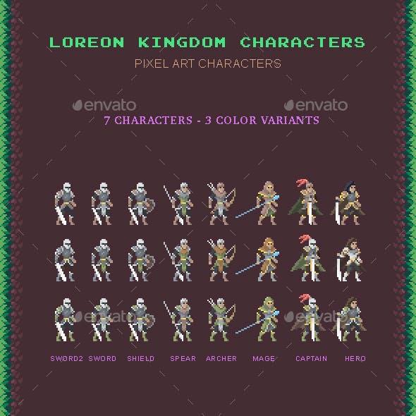 Loreon Kingdom Pixel Art Characters Asset