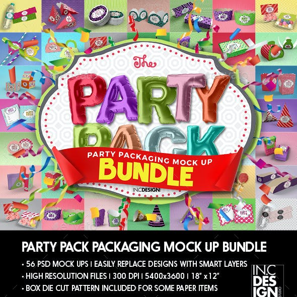 The Party Pack Packaging Mock up Bundle
