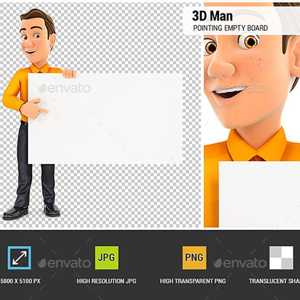 3D Man Pointing Empty Board