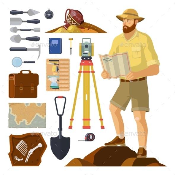 Archaeologist Near Archaeology Items Paleontology