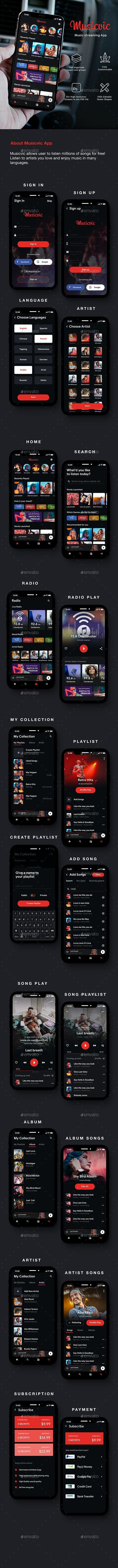 Modern Music Player App UI Kit   Musicvic - User Interfaces Web Elements