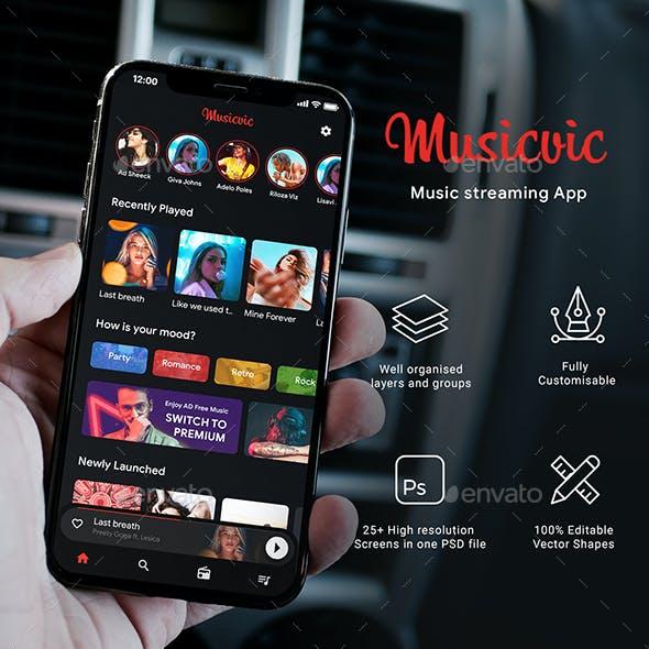 Music Streaming App UI Kit | Musicvic
