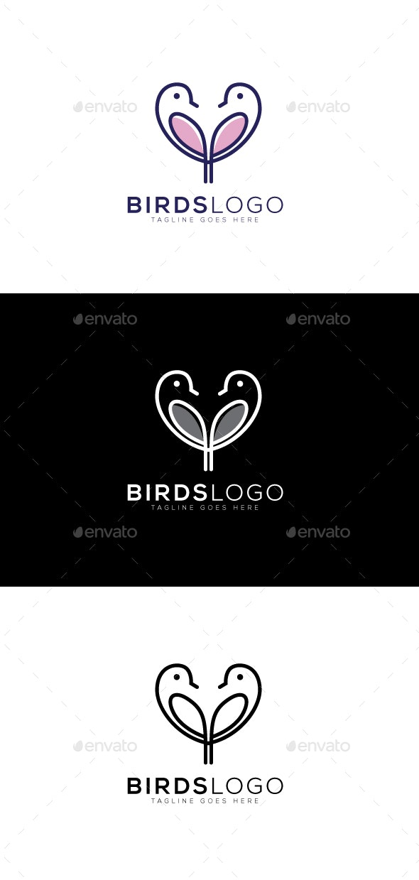 Heart Bird Logo - Animals Logo Templates
