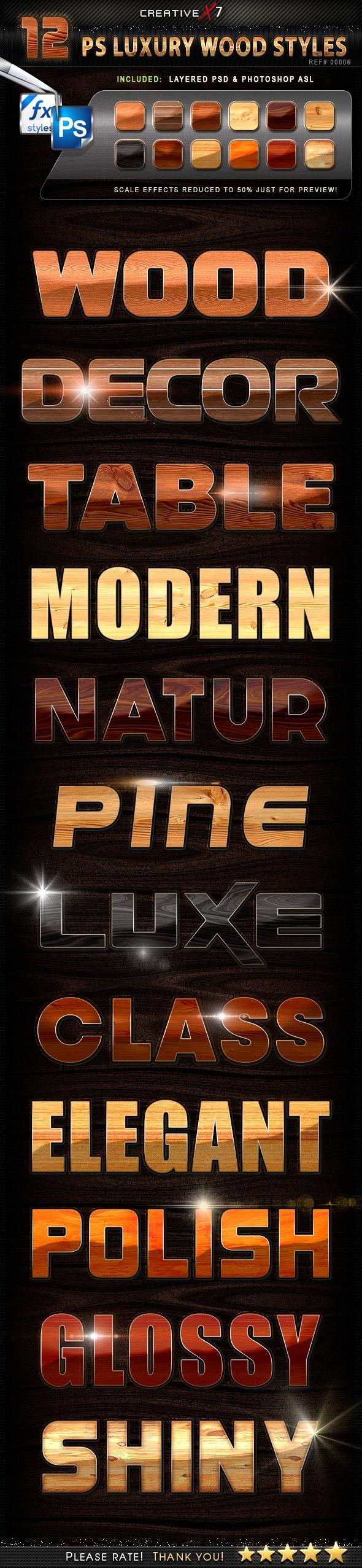 CreativeX7 - 12 Photoshop Luxury Wood Styles - Text Effects Styles