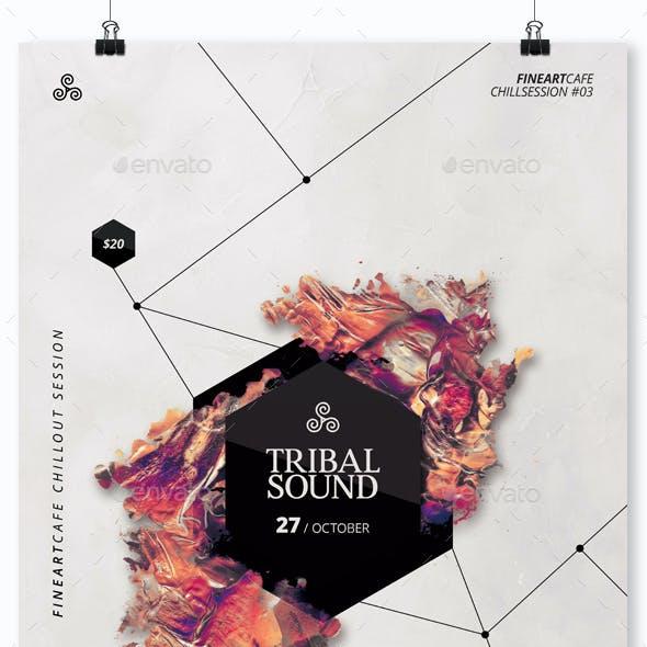 Tribal Sound - Minimal Party Flyer / Poster Artwork Templates A3