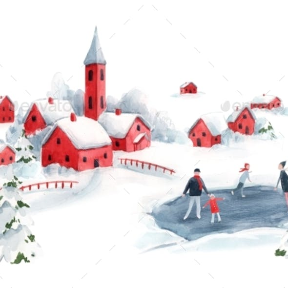 Watercolor Winter Snowy Christmas Time Red House