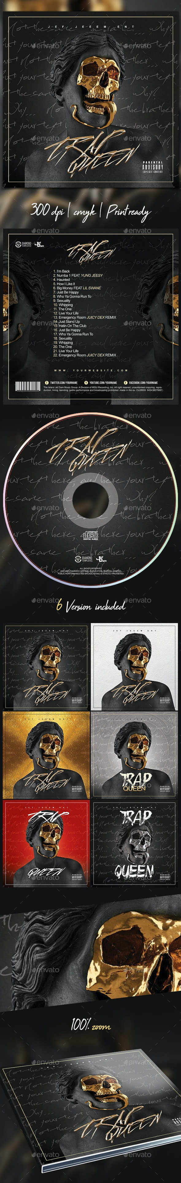 Trap CD Mixtape Rap Album Cover Template - Print Templates