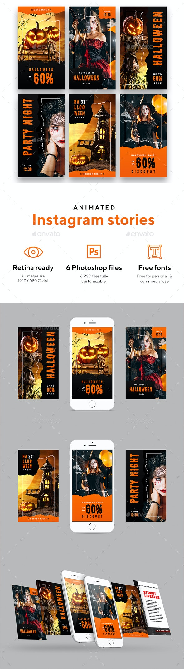 Halloween Party - Animated Instagram Stories - Social Media Web Elements