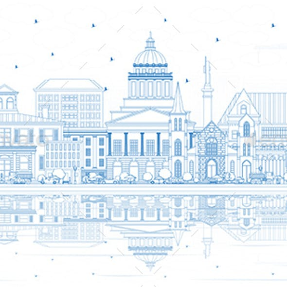 Outline Augusta Maine City Skyline with Blue Buildings and Reflections