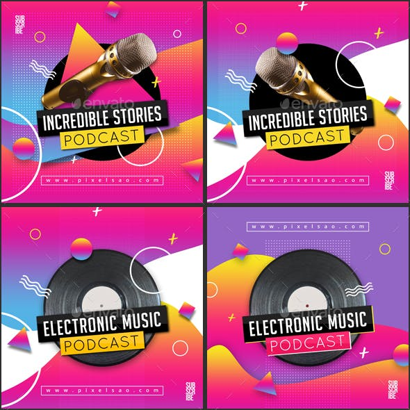 Audio Podcast - Colorful Cover Image Artwork Templates