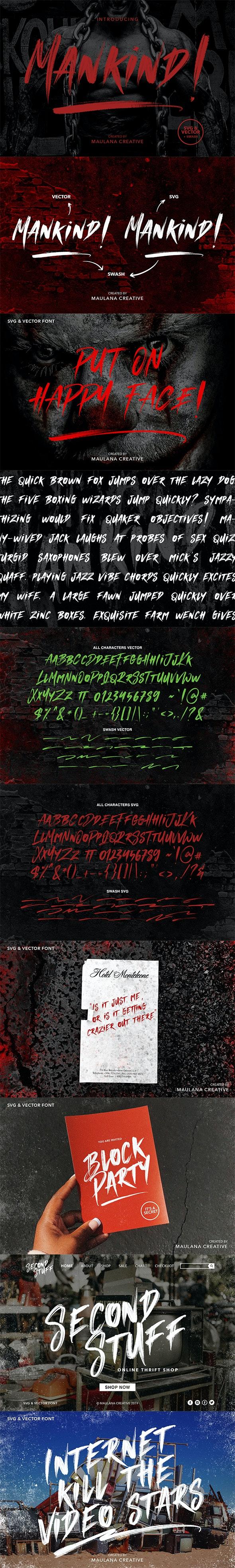 MANKIND - SVG Brush Font - Handwriting Fonts