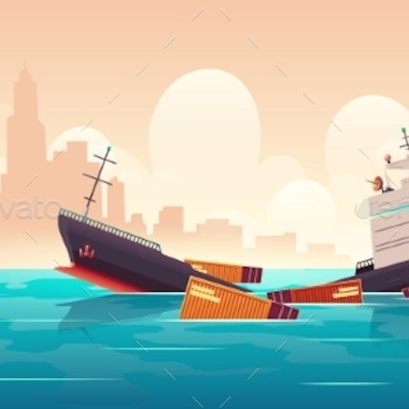 Shipwreck of Cargo Ship Vessel Sinking in Ocean