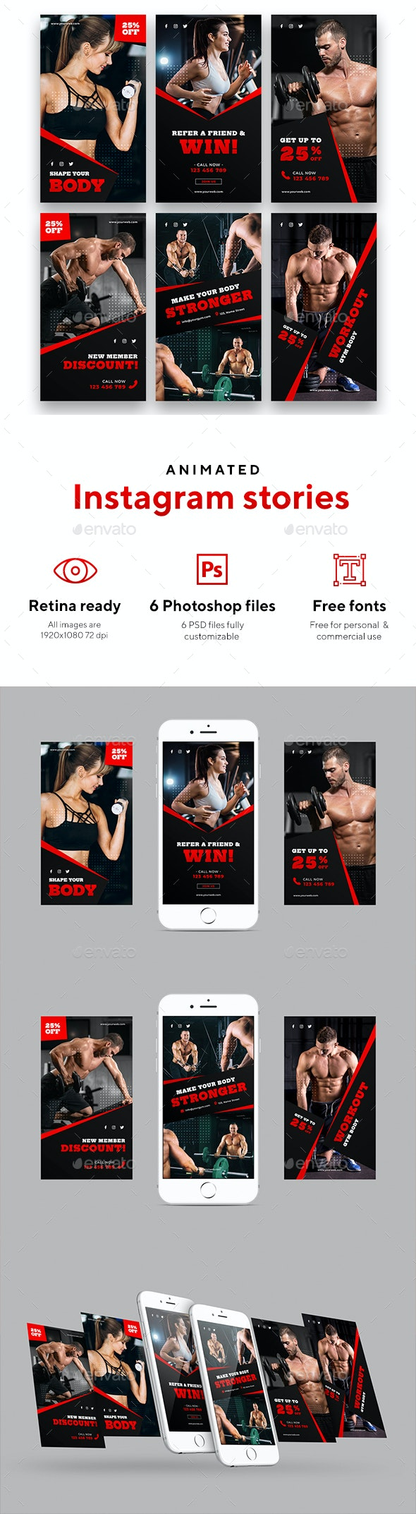 My Gym - Animated instagram Stories - Social Media Web Elements