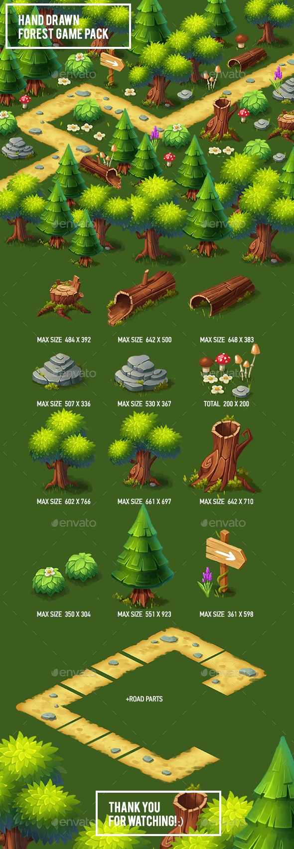 Hand Drawn Forest Game Pack - Backgrounds Game Assets