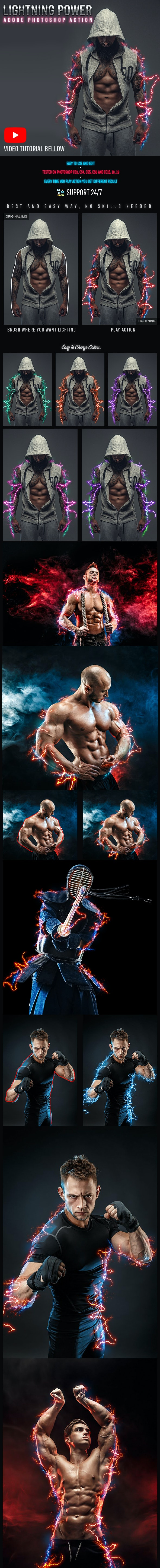 Lightning Power Photoshop Action - Actions Photoshop